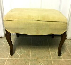 Antique Vintage Wooden Claw Feet Bench Mustard Upholstered Seat Bench Nice