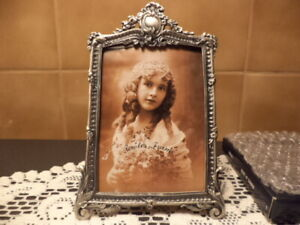 Vintage Ornate Pewter Victorian Style Photo Frame Old Store Stock New