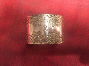 Vintage Solid Sterling Silver Napkin Ring Engraved With Floral Design And 2