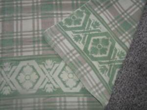 Beacon Southwest Green Plaid Trading Cotton Camp Blanket Reversible 67 X 70
