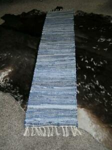 Indian Denim Cotton Braided Runner Rag Rug Braided Woven Pottery Barn 106 X 18