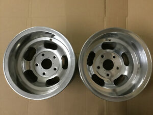Pair 15x10 Ansen Slot Wheels Gasser Hot Rod Big Ford Polished Rat Mags Vintage