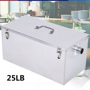 Commercial 25lb 13gpm Grease Trap Stainless Steel Interceptor Filter Kit Kitchen