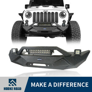Hooke Road Front Bumper W Led Lights Winch Plate For Jeep Wrangler Jk 07 18