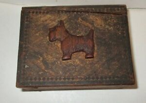 Possible Small Flemish Wood Box Carved Scotty Scottish Terrier Dog