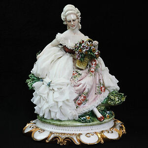 Rare Capodimonte Italy Lady With Flower Basket Dresden Lace Figurine 1043