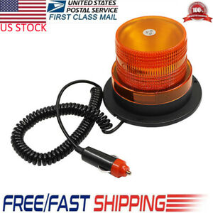 Car Truck Bus Magnetic Beacon Strobe Emergency Warning Flash Light Amber Dc 12v