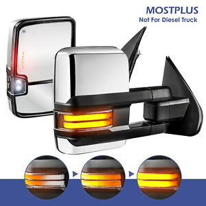 2x Chrome Power Heated Dynamic Signal Towing Mirrors For 14 18 Chevy Silverado