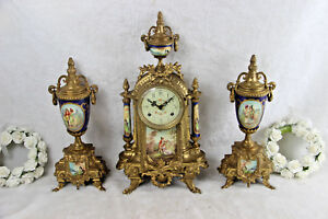 French Porcelain Victorian Scene Clock Set Candelabras Urns Fhs Movement