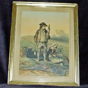 Antique Framed French Lithograph By Hippolyte Lalaisse Charpentier Book Illus