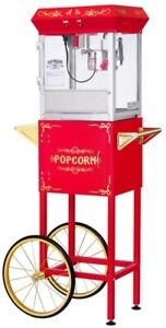 Great Northern All star 4 Oz Popcorn Machine Cart Red Steel Detachable Base