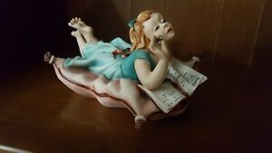 Capodimonte Figurine Germano Cortese Handpainted Girl On Pillow Signed Numbered