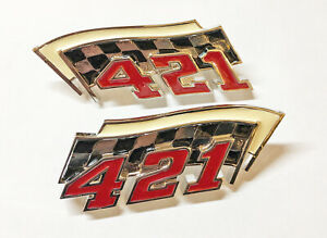 62 63 64 Pontiac 421 Fender Badges Emblems Bonneville Grand Prix Pair Fullsize