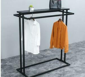 Retail Clothes Display Rack With Upper Shelf For Clothing On Hangers Black Steel