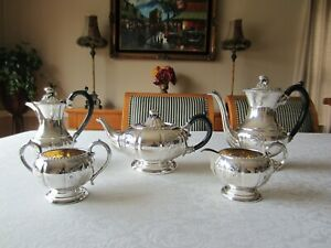 Old English Hand Chased Melon 5 Piece Silver Plate Coffee Tea Set By L Bros