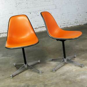 Pr Eames Psc Orange Vinyl Upholstered Pivoting Side Shell Chairs Contract Base