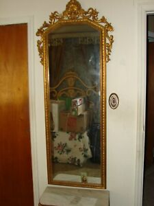 Vintage Gold Provincial Ornate Wall Mirror Marble Table Pick Up Only New York