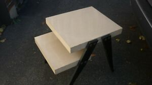 Mid Century Modern 2 Tier Step Side Table Blond Wood Tone With Black Legs