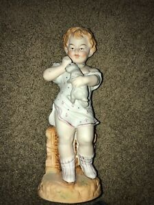 Antique Heubach German Piano Baby Bisque Figurine Boy Girl W Bunny Rabbit 13