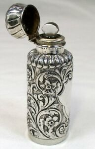 Antique Victorian Sterling Silver Repousse Hallmarked Perfume Bottle Dtd 1892