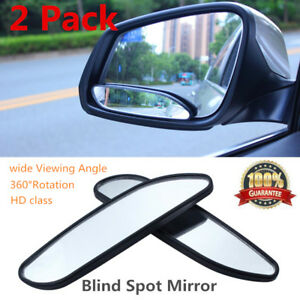 Pair Auto Wide Angle Convex Rear Side View Blind Spot Mirror For Universal Car