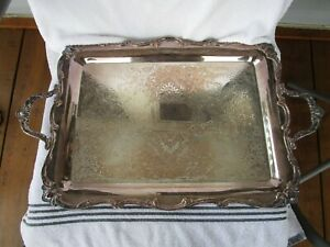 Vintage High Quality Heavy Rogers Bros Silverplated Serving Butler Tray