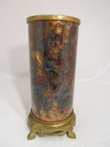 Antique Hand Painted Porcelain Footed Brass Cylinder Oil Lamp Base Font Stand