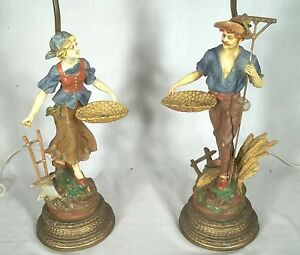 Vintage Pair Of Early 20th Century Figural Farmer Wife Lamps In Original Paint