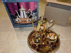 International Silver Company Gold Plated Four Piece Coffee Set