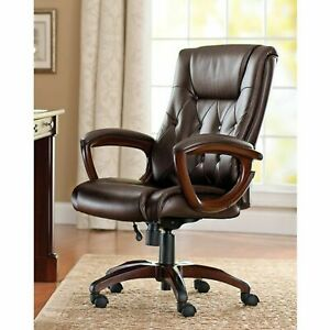 Heavy Duty Leather Office Rolling Computer Chair Brown High Back Executive