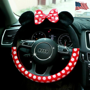 New Minnie Mouse Steering Wheel Cover Mickey Plush Cartoon Bow Car Interior 2019