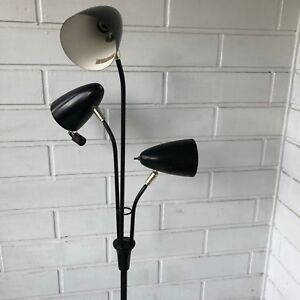 Vintage Retro Mid Century Black Bullet 3 Shade Floor Lamp