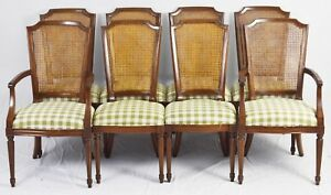 Set Of 8 Kindel Beauclair French Country Provential Cane Back Dining Chairs