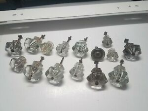 Vintage Lot Glass Door Knob Handles Crystal Usa Small Med Large Screw Pulls Usa