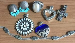 Lot Sterling Silver 925 Pollack Ring Pendants Turquoise Earrings Wear No Scrap