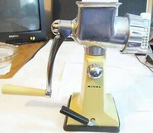 Rival Vintage Hand Crank Meat Grinder With Table Top Suction Pad Harvest Gold