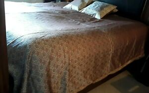 Antique Vintage Gorgeous Silk Bed Cover And 2 Pillow Cases