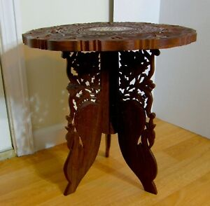 Vtg Hand Carved Sheesham Wood Bone Inlay Plant Stand India 18 Tripod Legs