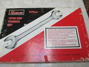Vintage Snap On Open End Wrench Set 6 Piece Vo 806