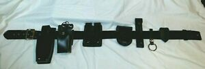 G g Hi Gloss Leather Police Duty Belt 36 W brass Buckle And Accessories Rmz 36cl