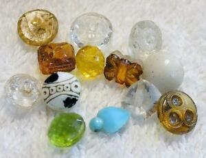 Lot Of 13 Antique Small Glass Buttons Amber Clear And Colored Glass