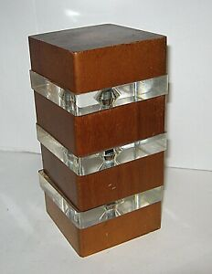 Vintage Mid Century Modern Square Teak Lucite Danish Sculpture Unique