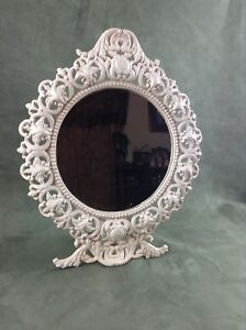 Stunning 14 Tall Vintage Victorian Style Cast Iron Art Vanity Table Top Mirror