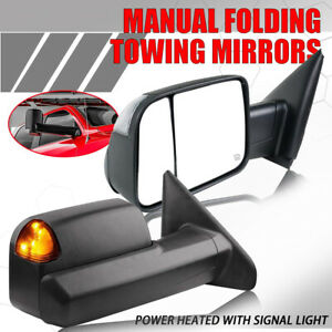 For 02 08 Dodge Ram 1500 03 09 2500 3500 Power Heated Turn Signal Towing Mirrors