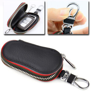Universal Car Remote Zipper Chain Smart Key Holder Pu Leather Bags Cases Cover