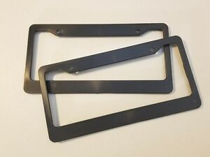 2 Black Blank License Plate Frames Truck Plain Plastic Cover Tag Holder Jdm Car