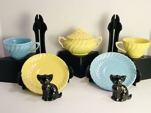 Yellow Blue Tea Cup Saucer Black Cat Salt Pepper Shaker Vintage Mixed Lot