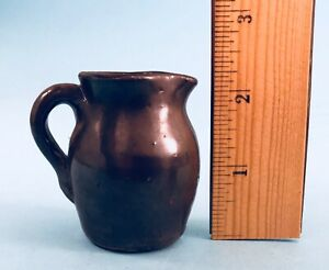 Antique Miniature Redware Jug W Handle Signed Brown Pottery
