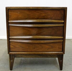 Mid Century Danish Modern Sculptural Walnut Nightstand
