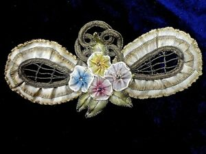 Original 1920s Ribbon Work Silk Metallic Bow Shaped Appliqu Excellent Condi